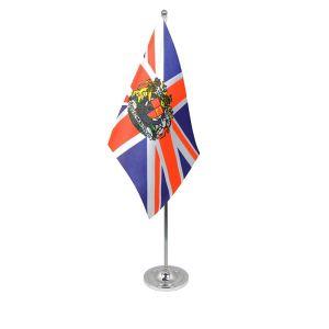 Union Jack crest table flag satin