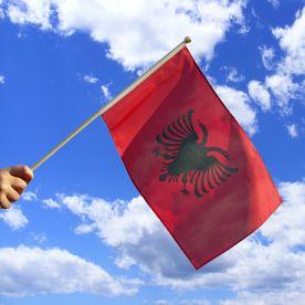 Albania Hand Waving Flag
