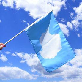 Antarctica Hand Waving Flag