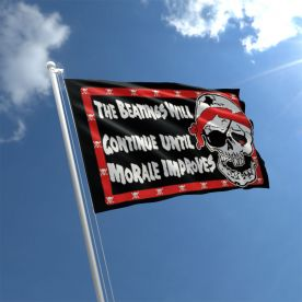 The Beatings Will Continue Until Morale Improves Flag 5ft X 3ft