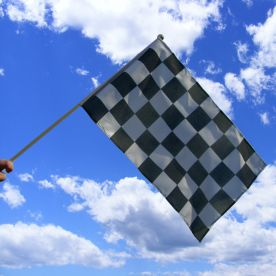 Black & White Chequered Hand Waving Flag