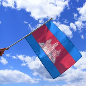 Cambodia Hand Waving Flag