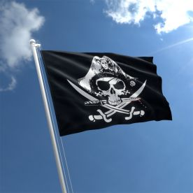 Crossed Sabres Pirate Flag  3Ft X 2Ft