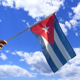 Cuba Hand Waving Flag