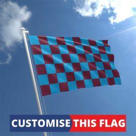 Custom Claret & Blue Chequered Flag