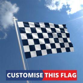 Custom Navy & White Chequered Flag