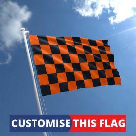Custom Orange & Black Chequered Flag