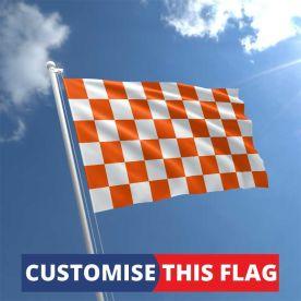 Custom Orange & White Chequered Flag