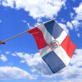 Dominican Republic Hand Waving Flag