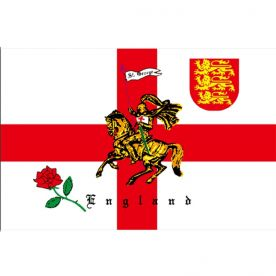 England Charger (Rose/Lion) Flag 8Ft X 5Ft