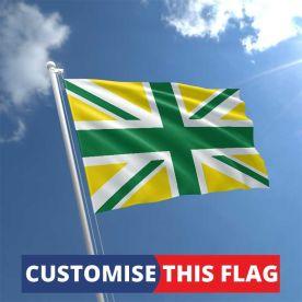 Custom Green & Yellow Union Jack Flag