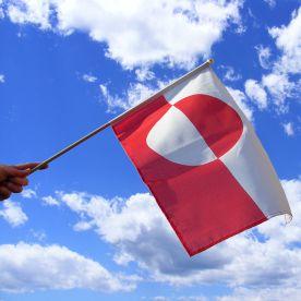 Greenland Hand Waving Flag