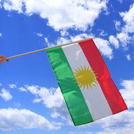 Kurdistan Hand Waving Flag