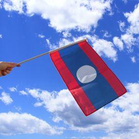 Laos Hand Waving Flag