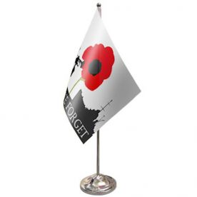 Lest We Forget Navy Table Flag Satin