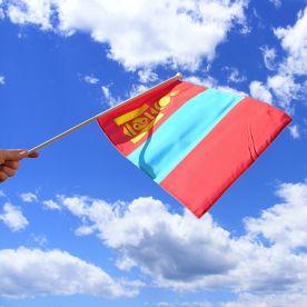 Mongolia Hand Waving Flag