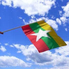 Myanmar Hand Waving Flag