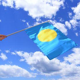 Palau Hand Waving Flag