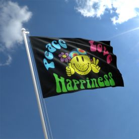 Peace Love & Happiness Flag