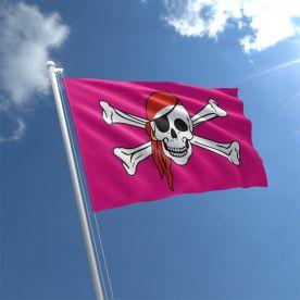 Pink Skull With Bandana Flag