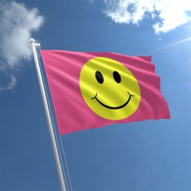Smiley Face Pink Flag