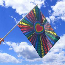 Rainbow Love Hand Flag