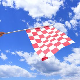 Red & White Chequered Hand Waving Flag