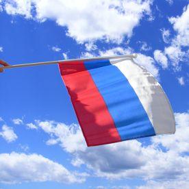 Russia Hand Waving Flag