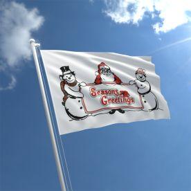 Santa Snowman Flag
