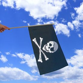 Skull & Crossbones Hand Waving Flag