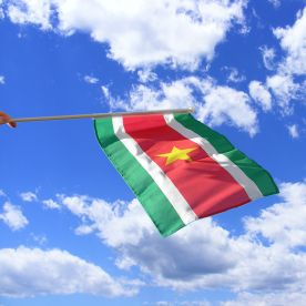 Suriname Hand Waving Flag