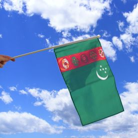 Turkmenistan Hand Waving Flag