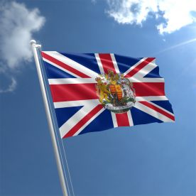 Union Jack With The Royal Coat Of Arms flag