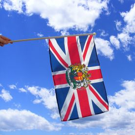 Union Jack With Crest Hand Waving Flag