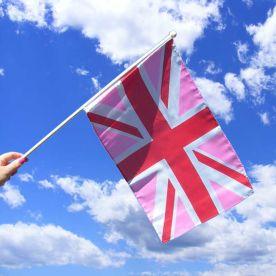 Pink Union Jack Hand Waving Flag