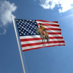 USA Indian And Horse Flag
