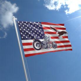 USA Motorcycle And Eagle Flag